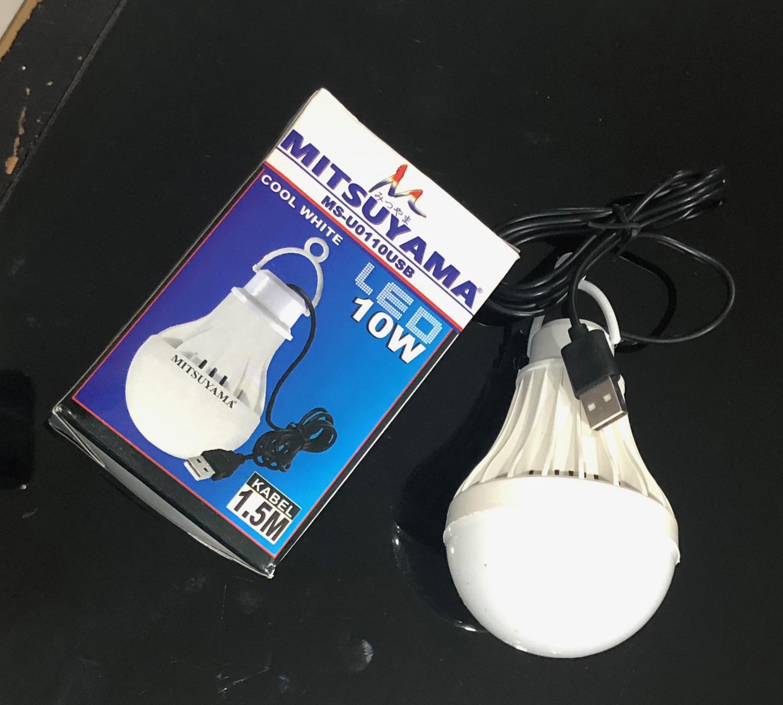 lampu led mitsuyama 10w ms-u0110usb usb powerbank portable emergency adaptor darurat lampu led usb m