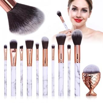 10 Pcs Makeup Brushes Set Kosmetik Foundation Blusher Kecil & Sikat Besar + Fish Tail Brush