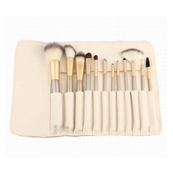 12Pcs Makeup Brushes set Fondation Eyeshadow Cosmetic Tool with Leather - intl