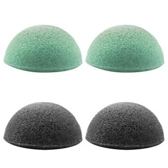 4 Pcs 2 Warna Soft Natural Konjac Sponge Wajah Body Pembersih Spons untuk Menghilangkan Kotoran Minyak