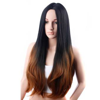 Brown Ombre Wig Long Wave Rambut Sintetis Wig untuk Penjualan Wanita-Intl . fdbc99bb8d