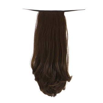 Clip In Ponytail Pony Tail Hair Extension Wrap On Hair Piece Straight light brown