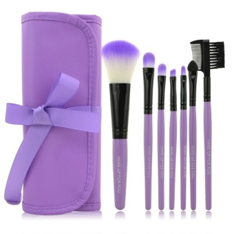 Cosmetic Make Up Brush 7 Set with Tie Case / Kuas Make Up - Purple
