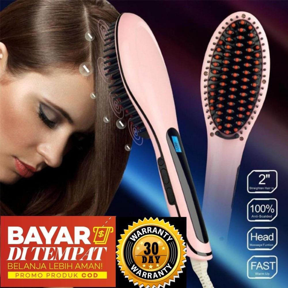 Bandingkan Toko Eigia Fast Hair Straightener Catok Sisir Pelurus Rambut HQT - Pink harga baru -