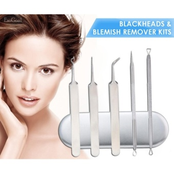 EsoGoal 5pcs Blackhead Remover Set Acne Pimple Comedone Extractor-Whitehead Removal Tool For Facial Skin Care, With Metal Case - intl