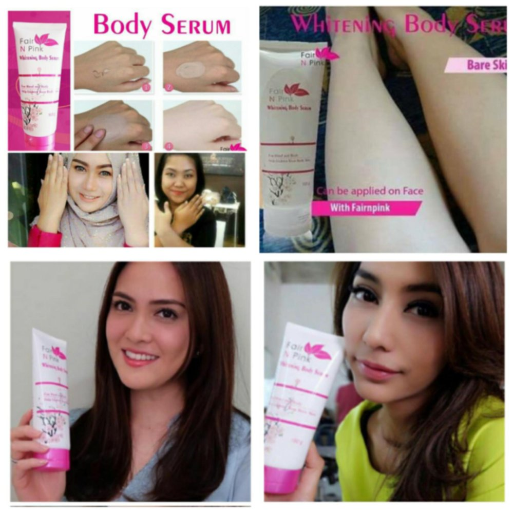 fair n pink body serum pemutih original bpom 160gr