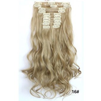 Hair Extension Perpanjangan Rambut model klip clip wigs long curly 55 cm 16