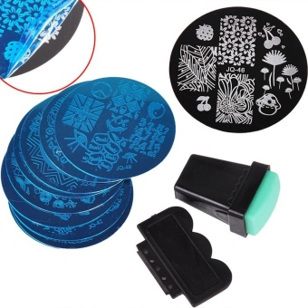 huohu 10 Nail Plates +1 Stamper + 1 Scraper Nail Art Polish Stamping Manicure Template Image Stamp Stamping Plates Accessories Kit Nail Art Tools - intl