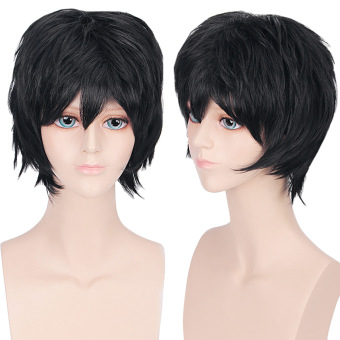Harga Unisex Anime Short Straight Full Wigs (Black)