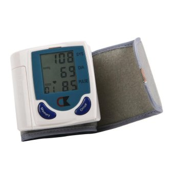 Harga Best CT Digital LCD Wrist Cuff Arm Blood Pressure Monitor Heart Beat Meter Machine - Putih