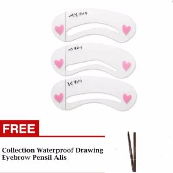 Harga HG Cetakan Alis Mini Brow Class Eyebrow Stencil - 3 pcs + Collection Waterproof Drawing Eyebrow - Pensil Alis
