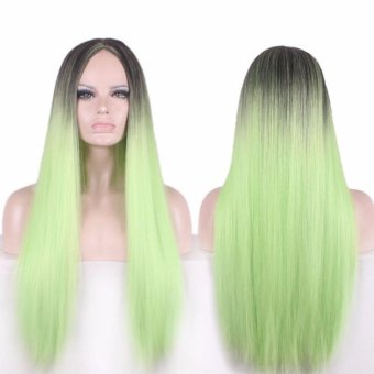 Harga 75cm Synthetic Long Straight Hair Cosplay Wigs Full Hair Green Ombre COS Wig - intl