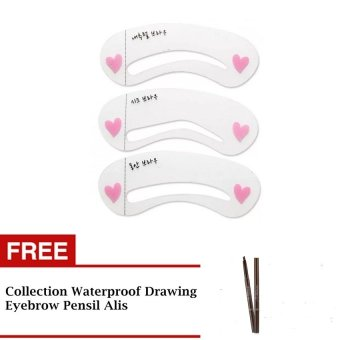 Harga Cetakan Alis Mini Brow Class Eyebrow Stencil - 3 pcs + Collection Waterproof Drawing Eyebrow - Pensil Alis
