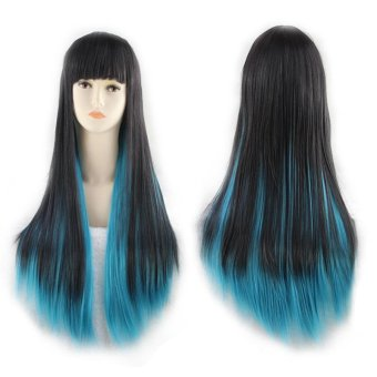 Harga Color Wig Hair Extensions Cosplay Anime Fashion Long Straight Hair Wig Gradient Section - Black + Green - intl