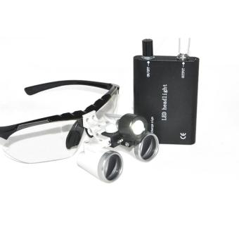 Harga 3.5X 420mm Dentist Dental Surgical Medical Binocular Loupes Optical Glass Loupe + Portable LED Head Light Lamp (Black) - intl