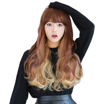 Harga Amart Popular Wig Color Gradient Golden Harajuku Anime COS Female Curly Wavy Hair - Intl