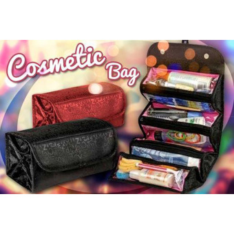 Harga Gogo Roll and Go Cosmetic Bag - Tas Kosmetik Travel - Hitam/Merah