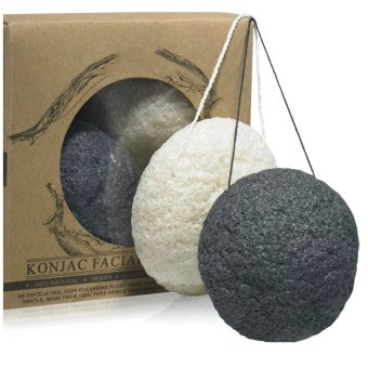 Harga 4 PCS Larger Size Natural Konjac Facial Sponge Great for Sensitive, Oily & Acne Prone Skin Beauty Facial Scrub Skin Care Puff Sponge(Charcoal black+White)