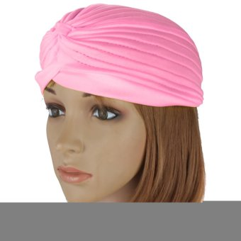 Harga Turban Retro Fitted Head Cover Wrap Hat Cap Hair Loss (pink)- intl