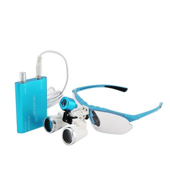 Harga Blue 3.5X 320mm Dentist Dental Surgical Medical Binocular Loupes Optical Glass Loupe + Portable LED Head Light Lamp