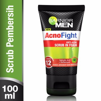 Harga Garnier Men Acno Fight Anti Acne Scrub In Foam - 100 mL