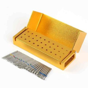 Harga 30Pcs Dental Diamond High Speed Burs Drills + Gold Aluminum Holder Bur Block - intl