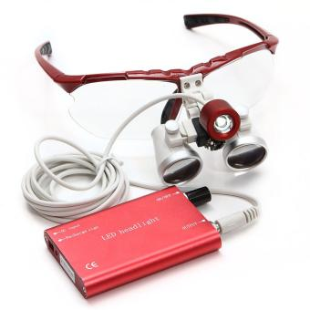 Harga 3.5 x 420 mm dokter gigi Dental Medical bedah teropong Loupes optik kaca pembesar + lampu senter Kepala LED portabel (Red ) - Internasional