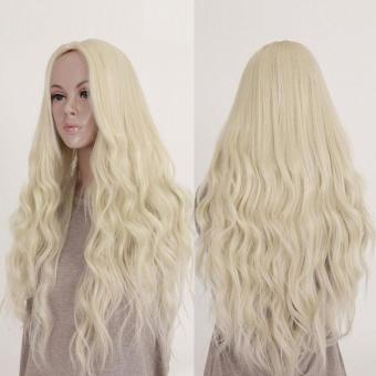 Harga New Long Hair Curly Wavy Full Wig Cosplay Costume Blonde Hair - intl