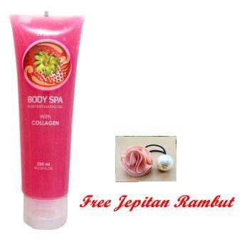 JBS - Hanasui Body Spa Peeling Gel Penghilang Daki - Strawberry 300ml Free Jepitan Rambut