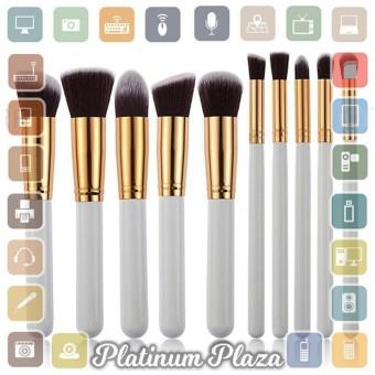 Kuas Make Up Wajah 10 PCS - White-Gold