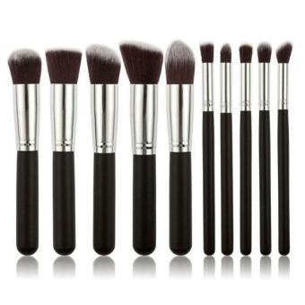 LALANG 10Pcs Makeup Brush Set Cosmetic Blending Pencil Brushes Silver&Black