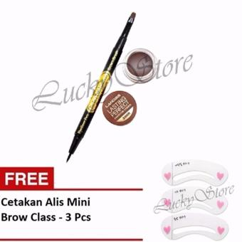 Landbis Eyebrow Gel 3 In 1 Eyeliner & Brush No. 03 - Natural Brown + Free Cetakan Alis Mini Brow Class - Eyebrow Stencil - 3 Pcs