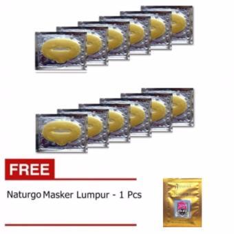 Masker Bibir - Collagen Lip Mask - 10 Pcs + Gratis Naturgo Masker Lumpur - 1