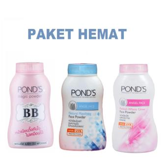 Pond's Pond's Angel Face Natural Mattifying Face Powder UV Protection Biru + Ponds Magic Powder Angel face Pink  + Ponds BB Magic Powder Double UV Protection - PAKET HEMAT isi 3