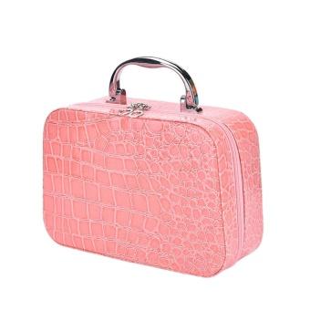 Rumah Portabel Kosmetik Riasan Perjalanan Tas Wadah Perlengkapan Mandi Mencuci Penyimpan Kotak Penyimpanan Berwarna Merah Muda
