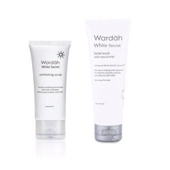 PROMO Paket Wardah White Secret Pembersih Wajah Scrub & Facial Wash- 2pcs