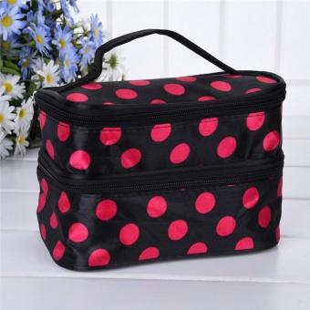 Satin Poliester Dua Lapisan Dotted Tas Kosmetik Travel Waterproof Wearproof Tas Rias Portable Kosmetik Tas Wadah