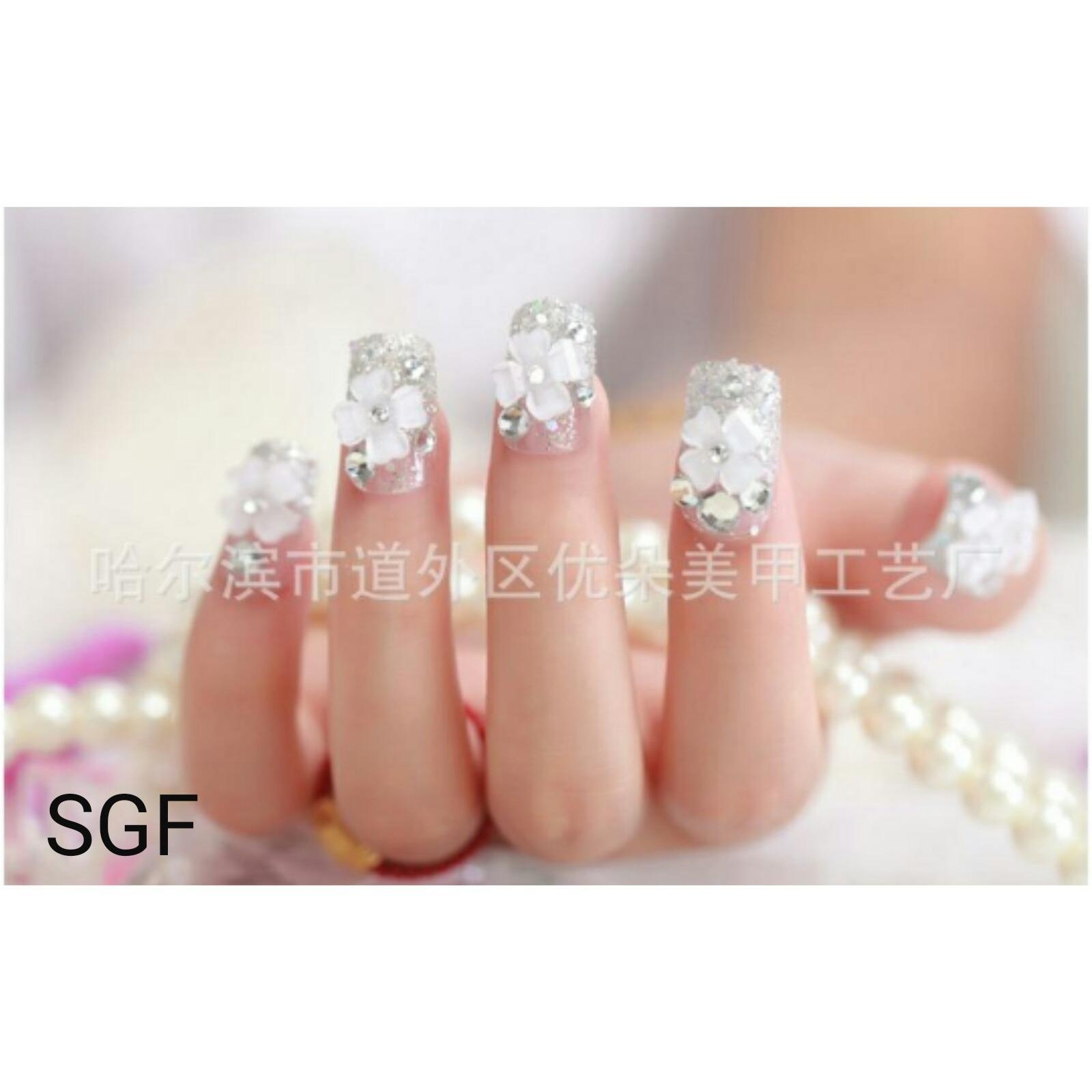 sgf-wedding party fake nails-kuku palsu pernikahan-aksesoris kuku nailart(kirim sesuai warna model )