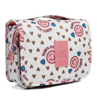 Smiley Portabel Folding Travel perlengkapan mandi Hanging wash Bag