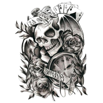 Tato Sticker Halloween Horror Skull Design Temporary Tattoo
