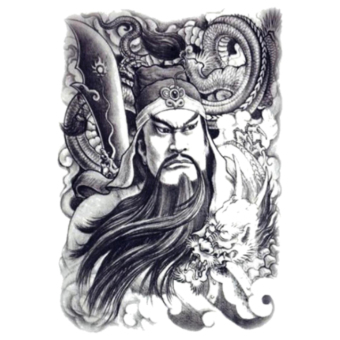 Tato Sticker Sketch Powerful Guan Yu Painting Designs Cool Temporary Tattoo Stiker