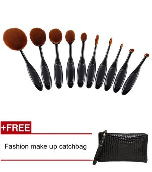 Fashion Penjualan Teratas 10 Pcs/set Sikat Gigi Bentuk Oval Krim Puff Makeup Set Kit
