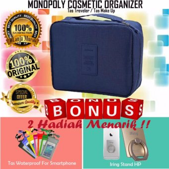 Trend's Monopoly Travel Cosmetic Pouch - Monopoly CosmeticOrganizer - Tas Treveler - Navy Gratis Iring Stand