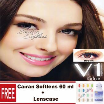 V1 Expose Softlens - Brown Free Lenscase + Cairan 60 ml