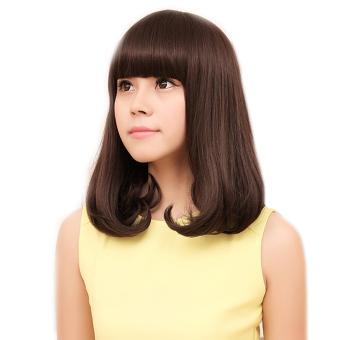 Wanita Cosplay Poni Lurus Datar Pinggiran Suhu Tinggi Serat BOB Keriting Rambut Wig Rambut Palsu Pir