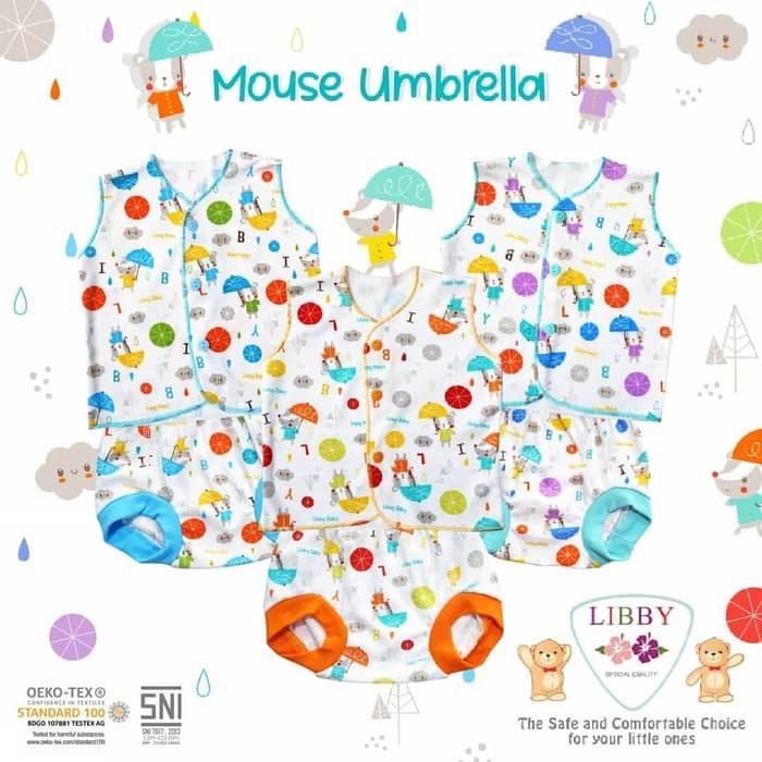 3pcs LIBBY Setelan Baju Kutung & Celana Pop 3-6M Umbrella