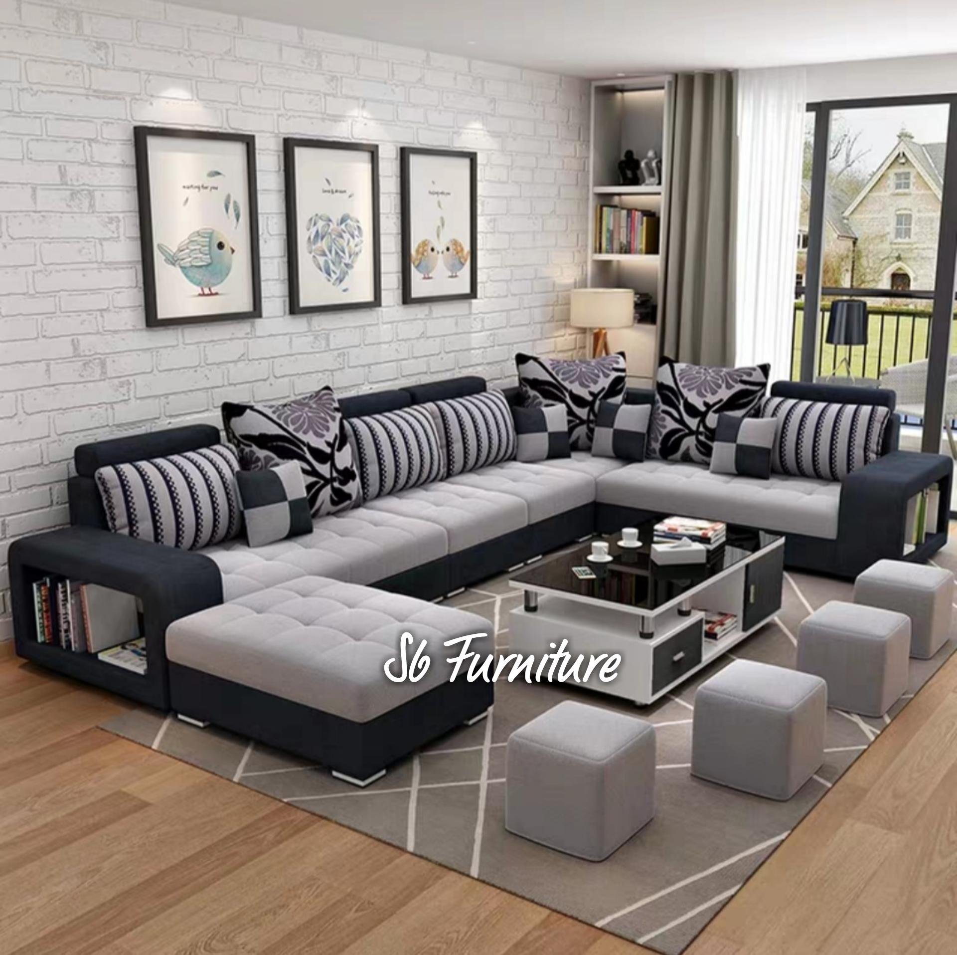 stok terbatas! sofa minimalis letter u warna moka gratis meja bloktik duco 11 bantal busa dakron