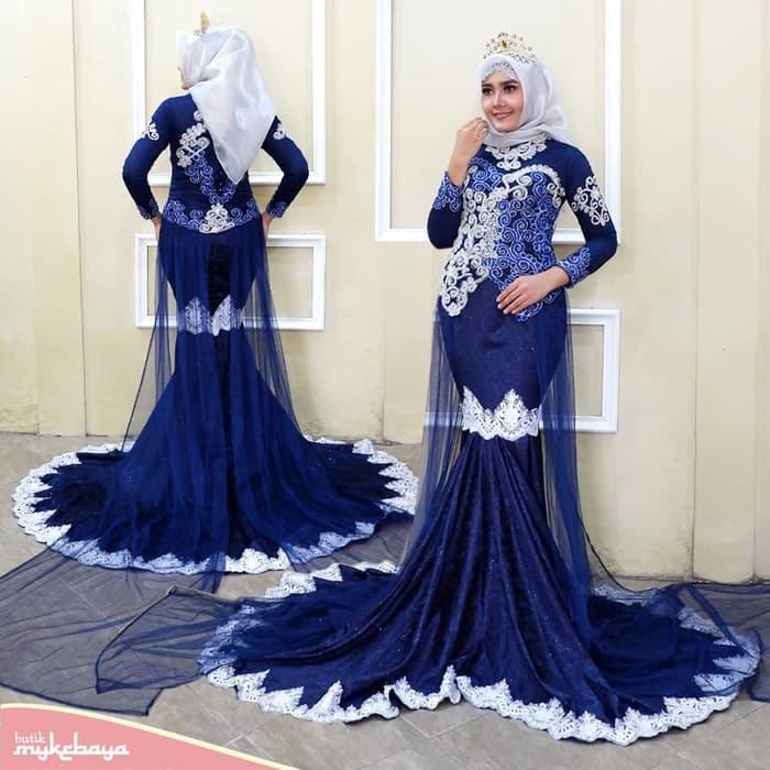 Review Kebaya Pengantin Ekor Duyung Navy Hijab Modern Dza Laris
