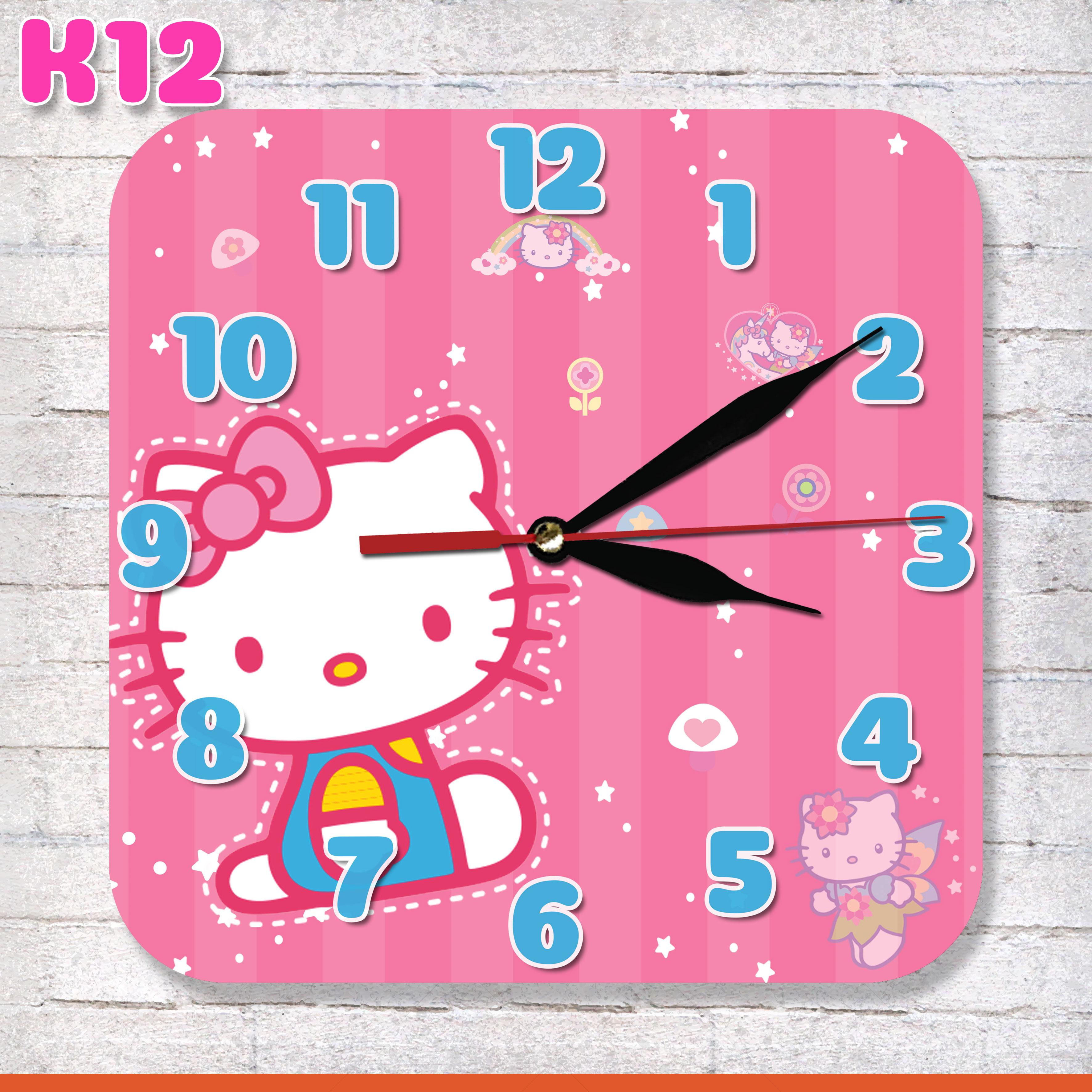 k12 jam dinding unik karakter kartun hello kitty pink