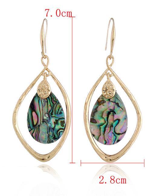 Detail Gambar LRC anting tusuk Fashion Multi-color Waterdrop Shape Decorated Earrings Terbaru